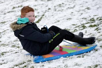 Slip sliding away on the snowy slopes of Ballymena