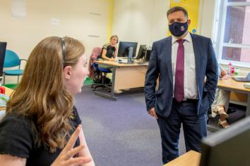 Swann blast for 'pingdemic' slang during visit to Ballymena trace centre